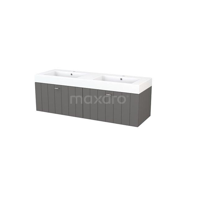 Badkamermeubel 140cm Modulo+ Basalt 2 Lades Lamel Wastafel Mineraalmarmer BMP003830