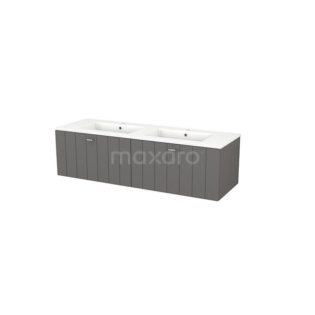 Badkamermeubel 140cm Modulo+ Basalt 2 Lades Lamel Wastafel Keramiek BMP003831