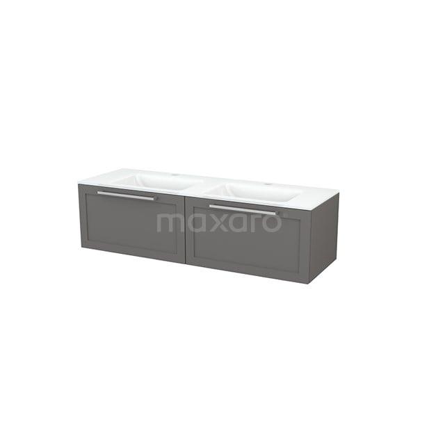 Badkamermeubel 140cm Modulo+ Basalt 2 Lades Kader Wastafel Glas BMP003832