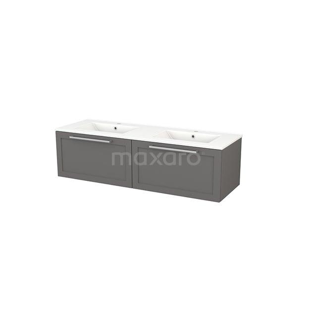 Badkamermeubel 140cm Modulo+ Basalt 2 Lades Kader Wastafel Keramiek BMP003833