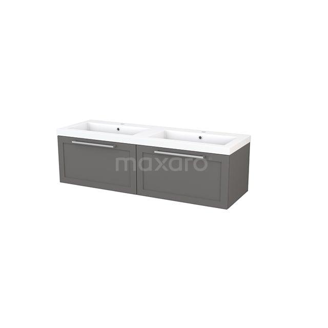 Badkamermeubel 140cm Modulo+ Basalt 2 Lades Kader Wastafel Mineraalmarmer BMP003835