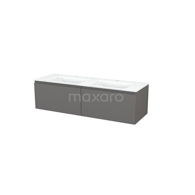 Badkamermeubel 140cm Modulo+ Basalt 2 Lades Greeploos Wastafel Glas BMP003838