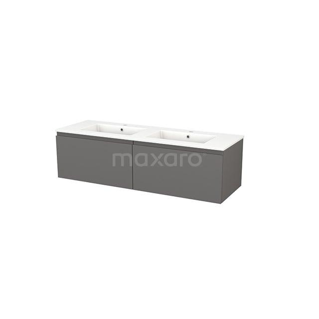 Badkamermeubel 140cm Modulo+ Basalt 2 Lades Greeploos Wastafel Keramiek BMP003843