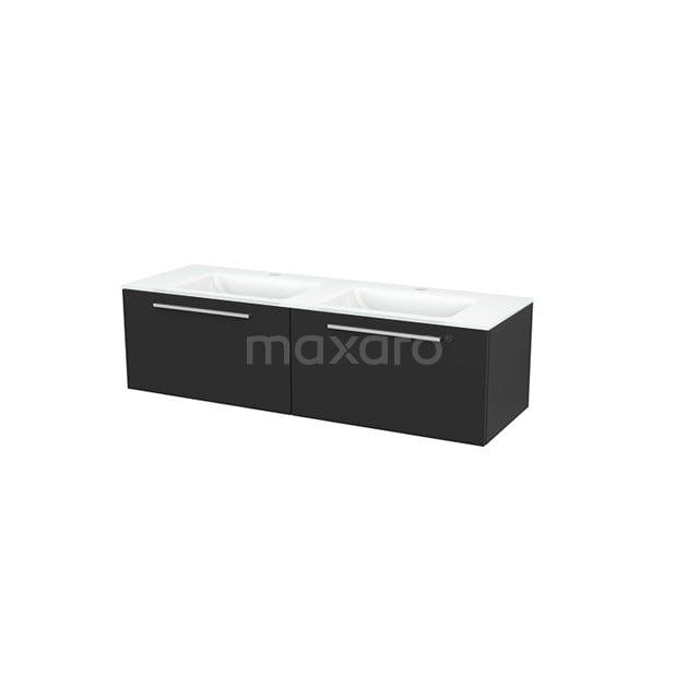 Badkamermeubel 140cm Modulo+ Carbon 2 Lades Vlak Wastafel Glas BMP003844