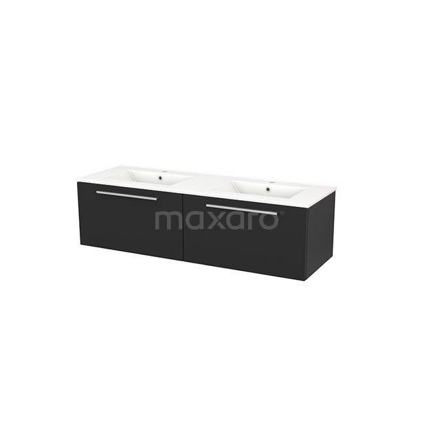 Badkamermeubel 140cm Modulo+ Carbon 2 Lades Vlak Wastafel Keramiek BMP003845
