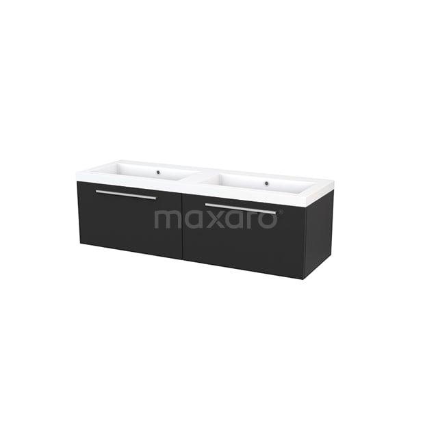 Badkamermeubel 140cm Modulo+ Carbon 2 Lades Vlak Wastafel Mineraalmarmer BMP003846