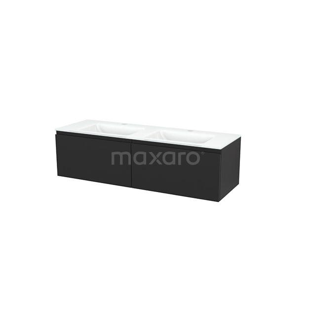 Badkamermeubel 140cm Modulo+ Carbon 2 Lades Greeploos Wastafel Glas BMP003862