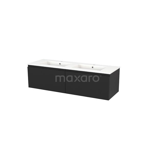 Badkamermeubel 140cm Modulo+ Carbon 2 Lades Greeploos Wastafel Keramiek BMP003867