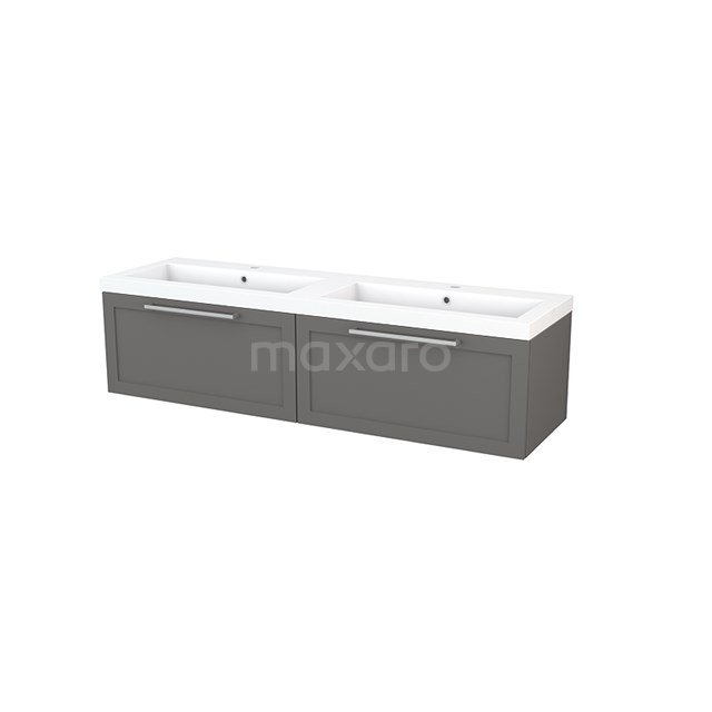 Badkamermeubel 160cm Modulo+ Basalt 2 Lades Kader Wastafel Mineraalmarmer BMP003914