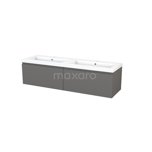 Badkamermeubel 160cm Modulo+ Basalt 2 Lades Greeploos Wastafel Mineraalmarmer BMP003915