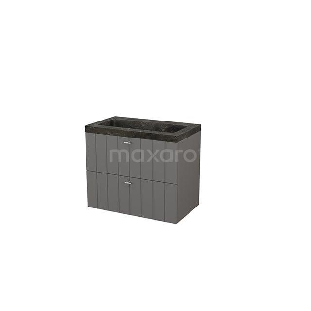 Badkamermeubel 80cm Modulo+ Basalt 2 Lades Lamel Wastafel Natuursteen Blue Stone BMP002766
