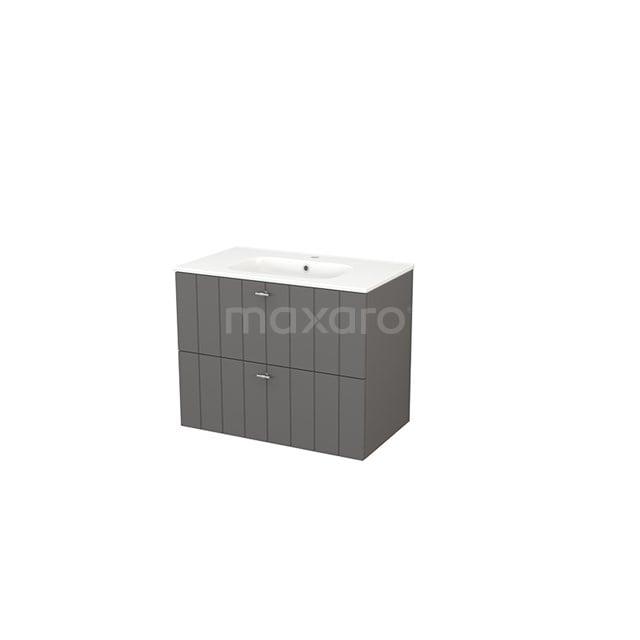Badkamermeubel 80cm Modulo+ Basalt 2 Lades Lamel Wastafel Keramiek BMP002770