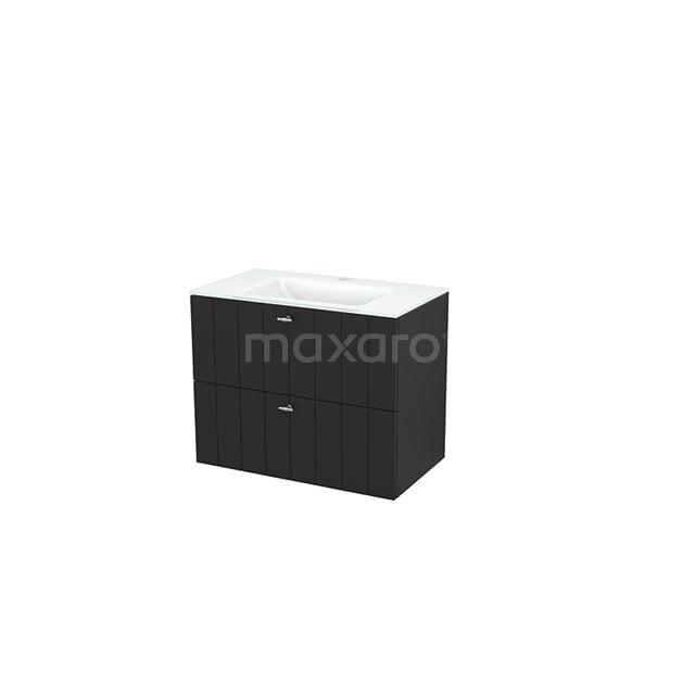 Badkamermeubel 80cm Modulo+ Carbon 2 Lades Lamel Wastafel Glas BMP002802