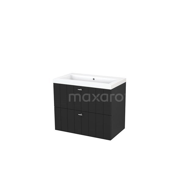 Badkamermeubel 80cm Modulo+ Carbon 2 Lades Lamel Wastafel Mineraalmarmer BMP002804