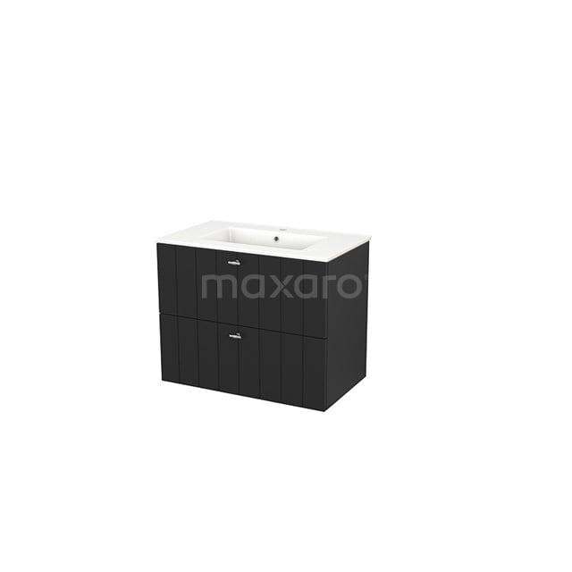 Badkamermeubel 80cm Modulo+ Carbon 2 Lades Lamel Wastafel Keramiek BMP002809