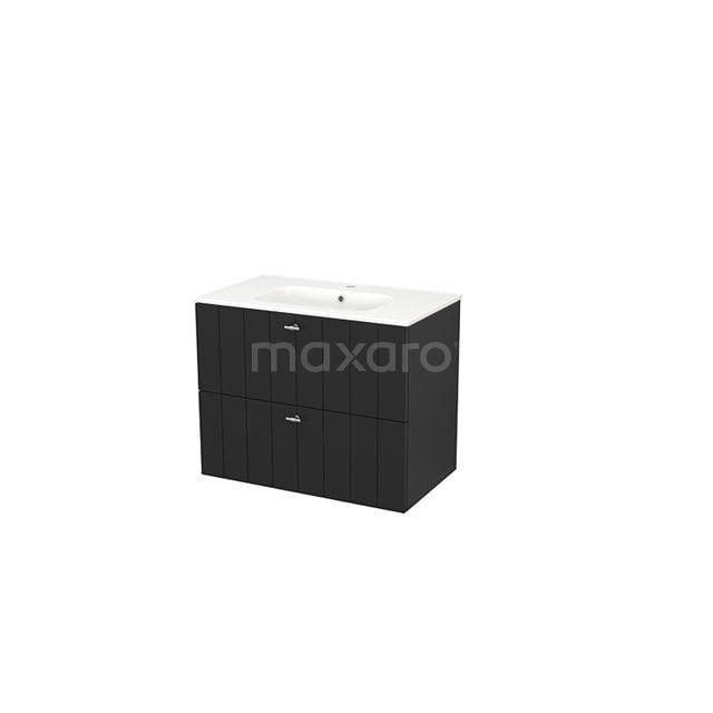 Badkamermeubel 80cm Modulo+ Carbon 2 Lades Lamel Wastafel Keramiek BMP002810