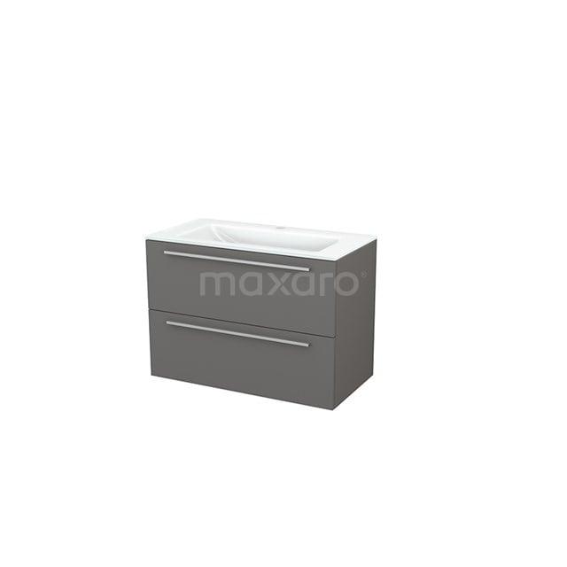 Badkamermeubel 90cm Modulo+ Basalt 2 Lades Vlak Wastafel Glas BMP002963
