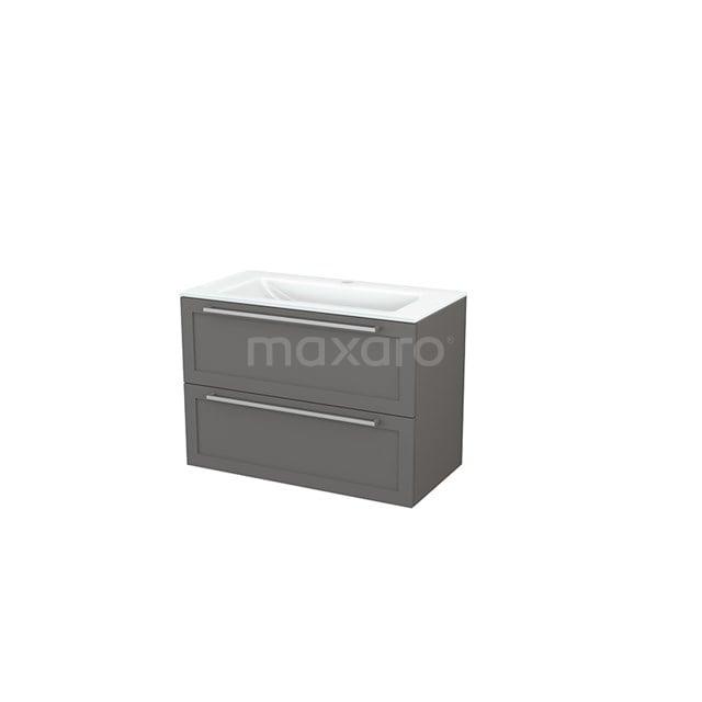 Badkamermeubel 90cm Modulo+ Basalt 2 Lades Kader Wastafel Glas BMP002979