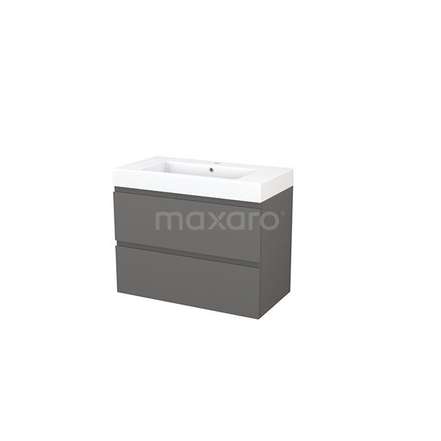 Badkamermeubel 90cm Modulo+ Basalt 2 Lades Greeploos Wastafel Mineraalmarmer BMP002983