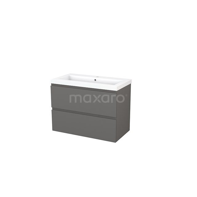Badkamermeubel 90cm Modulo+ Basalt 2 Lades Greeploos Wastafel Mineraalmarmer BMP002985
