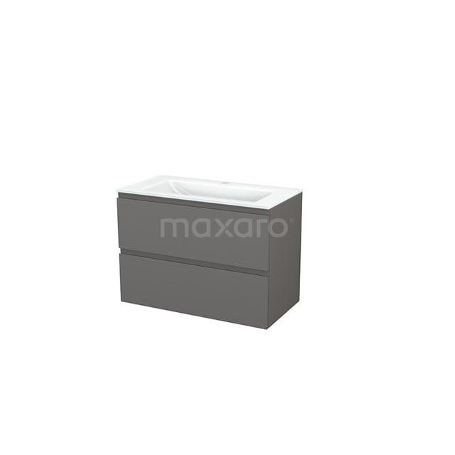 Badkamermeubel 90cm Modulo+ Basalt 2 Lades Greeploos Wastafel Glas BMP002987