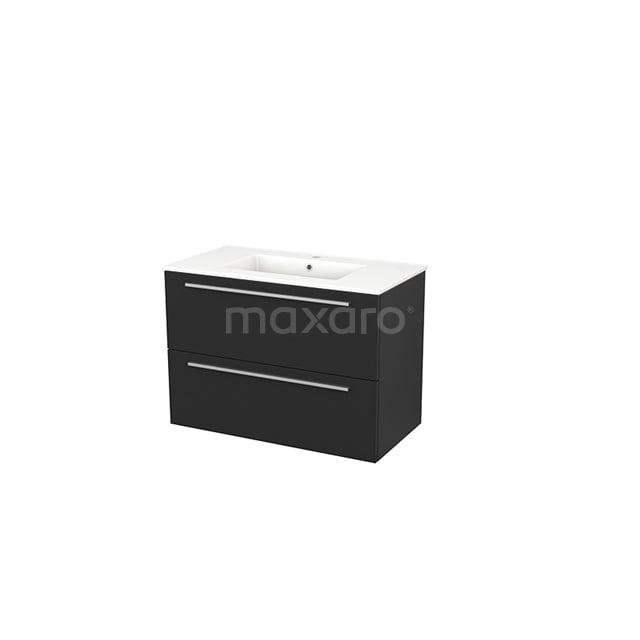 Badkamermeubel 90cm Modulo+ Carbon 2 Lades Vlak Wastafel Keramiek BMP002990