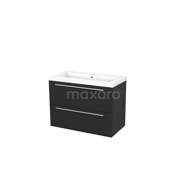 Badkamermeubel 90cm Modulo+ Carbon 2 Lades Vlak Wastafel Mineraalmarmer BMP002993