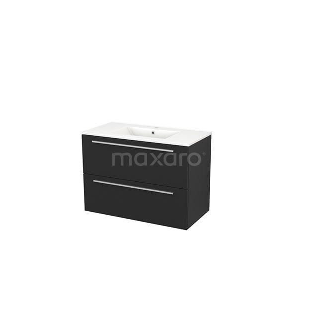 Badkamermeubel 90cm Modulo+ Carbon 2 Lades Vlak Wastafel Keramiek BMP002994