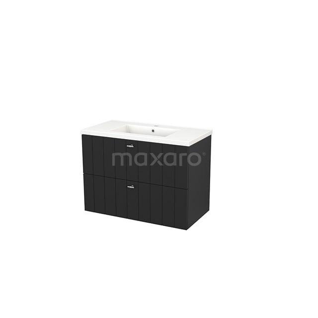 Badkamermeubel 90cm Modulo+ Carbon 2 Lades Lamel Wastafel Keramiek BMP002996