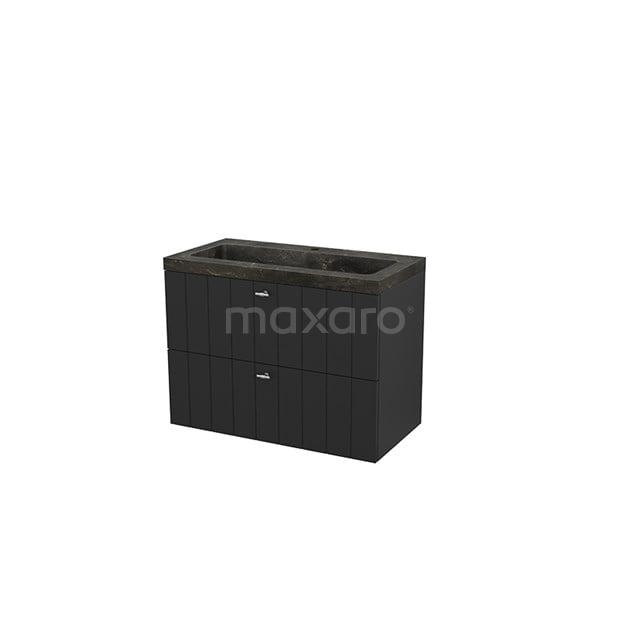 Badkamermeubel 90cm Modulo+ Carbon 2 Lades Lamel Wastafel Natuursteen Blue Stone BMP003000
