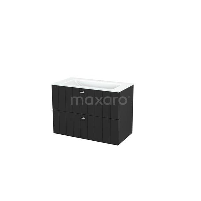 Badkamermeubel 90cm Modulo+ Carbon 2 Lades Lamel Wastafel Glas BMP003003