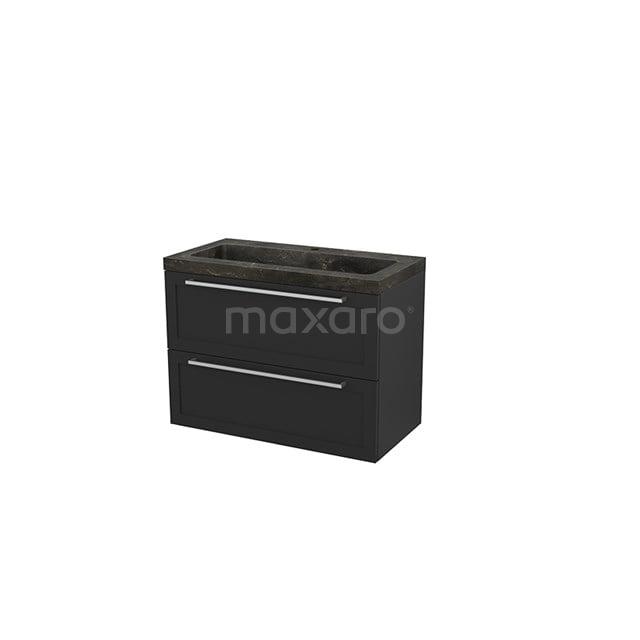 Badkamermeubel 90cm Modulo+ Carbon 2 Lades Kader Wastafel Natuursteen Blue Stone BMP003008