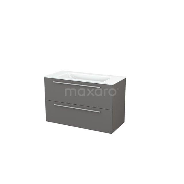 Badkamermeubel 100cm Modulo+ Basalt 2 Lades Vlak Wastafel Glas BMP003156