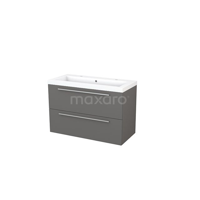 Badkamermeubel 100cm Modulo+ Basalt 2 Lades Vlak Wastafel Mineraalmarmer BMP003159