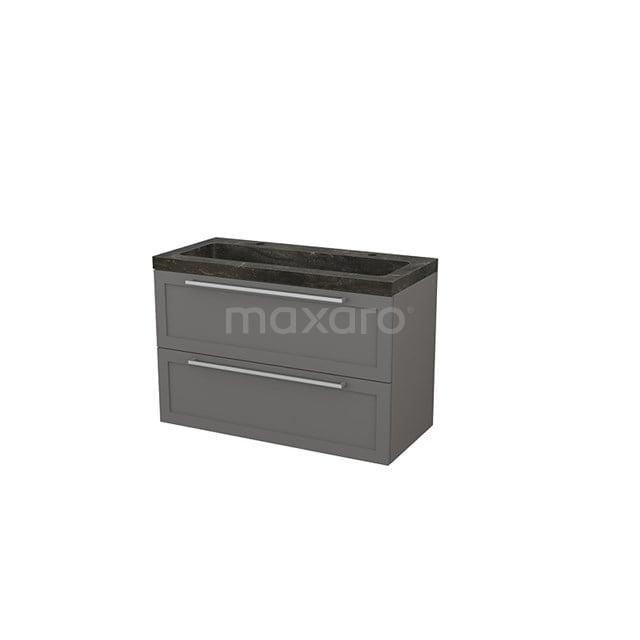 Badkamermeubel 100cm Modulo+ Basalt 2 Lades Kader Wastafel Natuursteen Blue Stone BMP003184