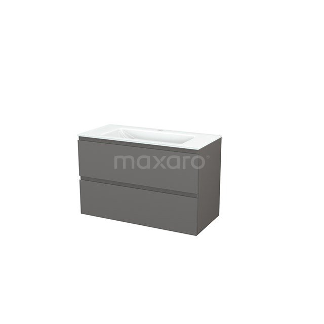 Badkamermeubel 100cm Modulo+ Basalt 2 Lades Greeploos Wastafel Glas BMP003189