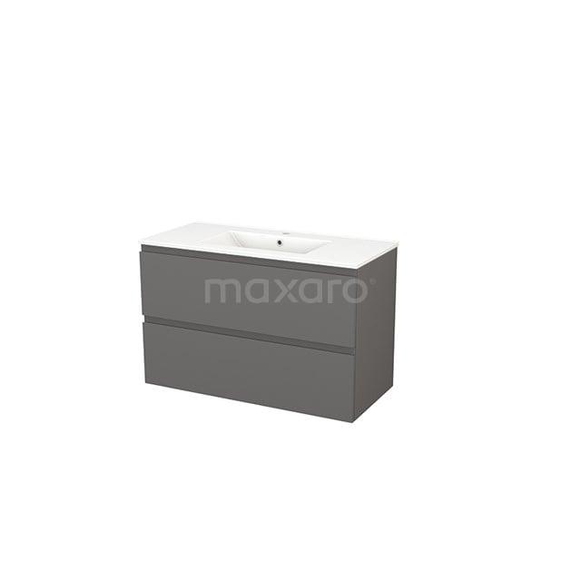 Badkamermeubel 100cm Modulo+ Basalt 2 Lades Greeploos Wastafel Keramiek BMP003190