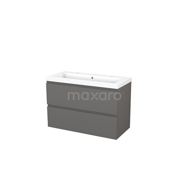 Badkamermeubel 100cm Modulo+ Basalt 2 Lades Greeploos Wastafel Mineraalmarmer BMP003192