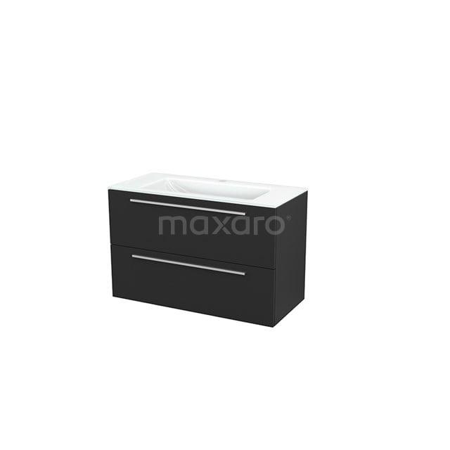 Badkamermeubel 100cm Modulo+ Carbon 2 Lades Vlak Wastafel Glas BMP003200