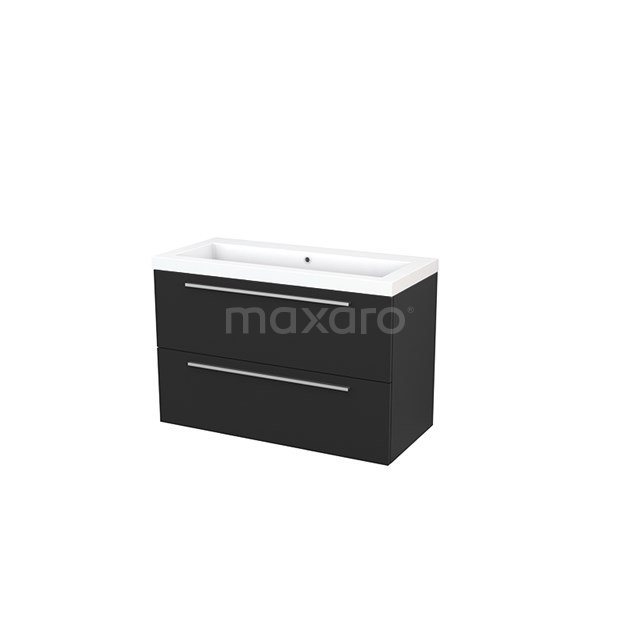 Badkamermeubel 100cm Modulo+ Carbon 2 Lades Vlak Wastafel Mineraalmarmer BMP003202