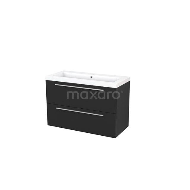 Badkamermeubel 100cm Modulo+ Carbon 2 Lades Vlak Wastafel Mineraalmarmer BMP003204