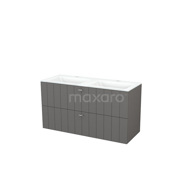 Badkamermeubel 120cm Modulo+ Basalt 2 Lades Lamel Wastafel Glas BMP003427