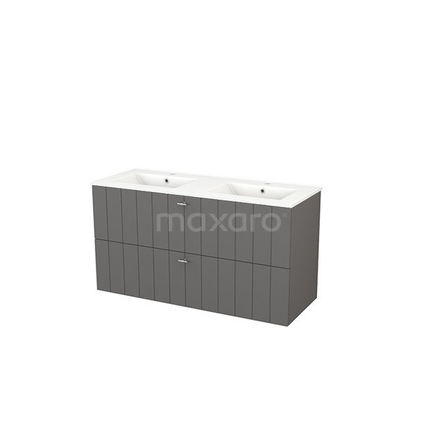 Badkamermeubel 120cm Modulo+ Basalt 2 Lades Lamel Wastafel Keramiek BMP003428
