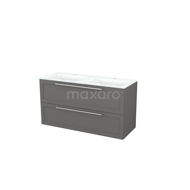 Badkamermeubel 120cm Modulo+ Basalt 2 Lades Kader Wastafel Glas BMP003440