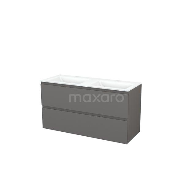 Badkamermeubel 120cm Modulo+ Basalt 2 Lades Greeploos Wastafel Glas BMP003453