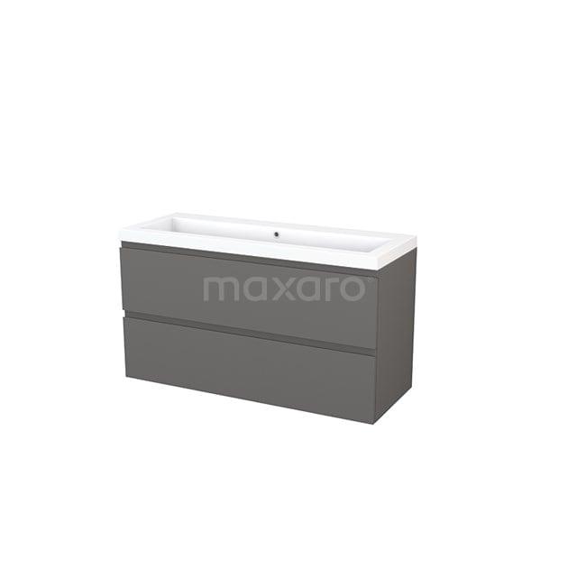 Badkamermeubel 120cm Modulo+ Basalt 2 Lades Greeploos Wastafel Mineraalmarmer BMP003456