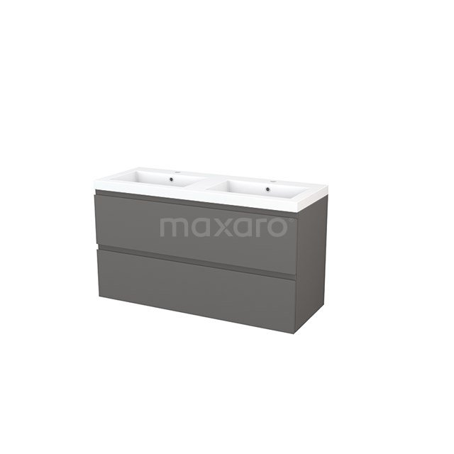 Badkamermeubel 120cm Modulo+ Basalt 2 Lades Greeploos Wastafel Mineraalmarmer BMP003457