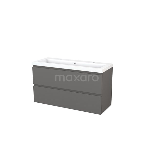 Badkamermeubel 120cm Modulo+ Basalt 2 Lades Greeploos Wastafel Mineraalmarmer BMP003458