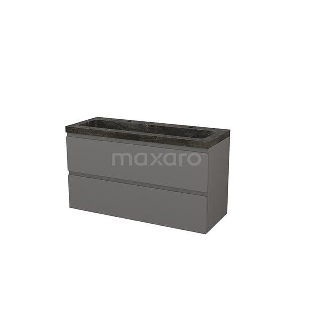 Badkamermeubel 120cm Modulo+ Basalt 2 Lades Greeploos Wastafel Natuursteen Blue Stone BMP003460