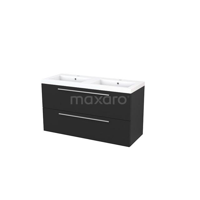 Badkamermeubel 120cm Modulo+ Carbon 2 Lades Vlak Wastafel Mineraalmarmer BMP003470